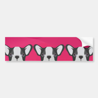 Illustration French Bulldog with pink background Bumper Sticker