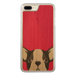 Carved Apple iPhone 7 Plus Wood Case with Bulldog Phone Cases design