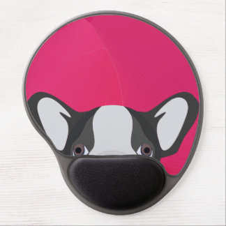 Illustration French Bulldog with pink background Gel Mouse Pad