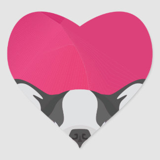 Illustration French Bulldog with pink background Heart Sticker