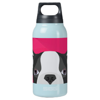 Illustration French Bulldog with pink background Insulated Water Bottle