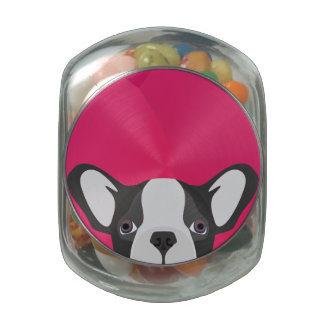 Illustration French Bulldog with pink background Jelly Belly Candy Jar