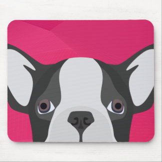 Illustration French Bulldog with pink background Mouse Pad