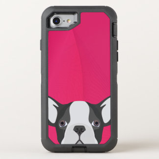 Illustration French Bulldog with pink background OtterBox Defender iPhone 8/7 Case