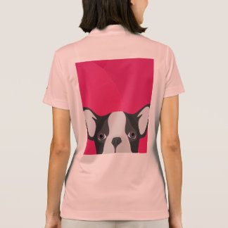 Illustration French Bulldog with pink background Polo Shirt