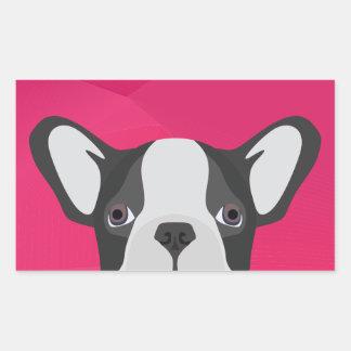 Illustration French Bulldog with pink background Rectangular Sticker