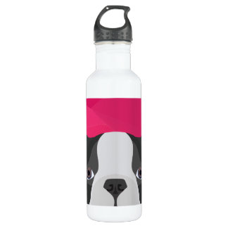Illustration French Bulldog with pink background Stainless Steel Water Bottle