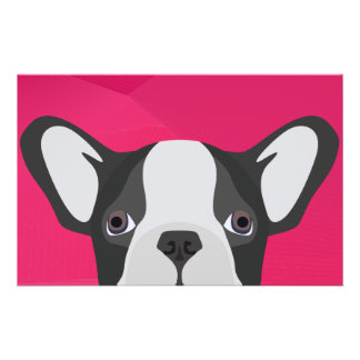 Illustration French Bulldog with pink background Stationery