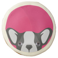 Illustration French Bulldog with pink background Sugar Cookie