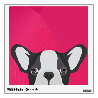 Illustration French Bulldog with pink background Wall Decal