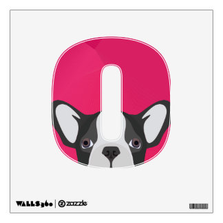 Illustration French Bulldog with pink background Wall Sticker