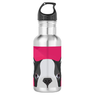 Illustration French Bulldog with pink background Water Bottle