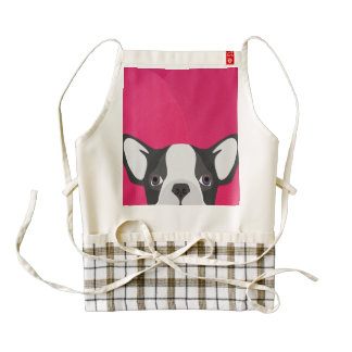 Illustration French Bulldog with pink background Zazzle HEART Apron