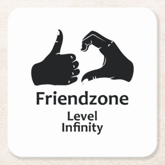 Illustration Friendzone Level Infinity Square Paper Coaster