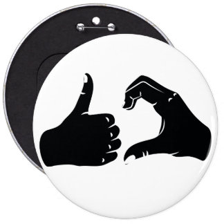 Illustration Friendzoned Hands Shape Pinback Button