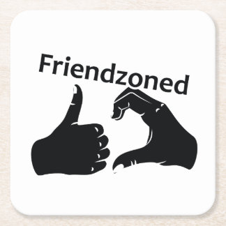Illustration Friendzoned Hands Shape Square Paper Coaster