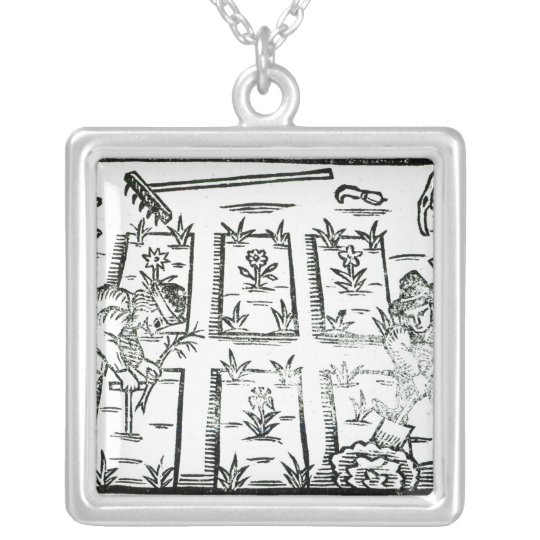 Illustration from a Book on Gardening Silver Plated Necklace