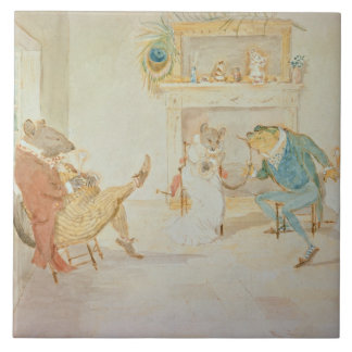 Illustration from 'A Frog He Would a Wooing Go' Ceramic Tile