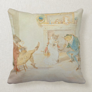 Illustration from 'A Frog He Would a Wooing Go' Throw Pillow