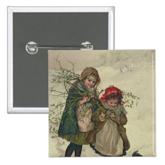 Illustration from Christmas Tree Fairy, pub. 1886 2 Inch Square Button