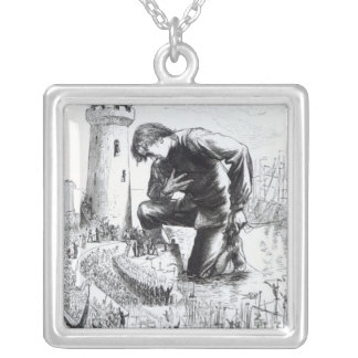 Illustration from 'Gulliver's Travels' Silver Plated Necklace