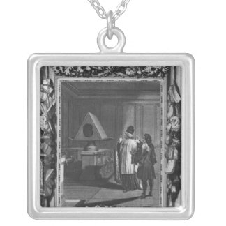 Illustration from 'Le Lutrin' by Nicolas Silver Plated Necklace