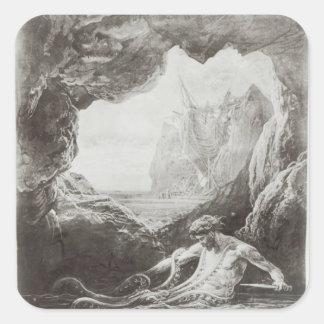 Illustration from 'Les Travailleurs de la Mer' Square Sticker