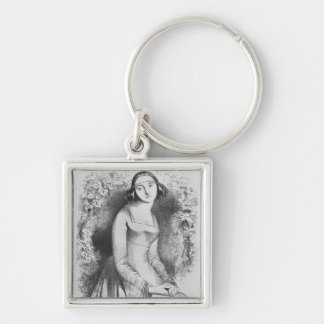 illustration from 'Lettres d'Heloise et Silver-Colored Square Keychain