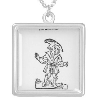 Illustration from 'Pantagruel' Square Pendant Necklace