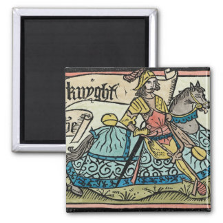 Illustration from 'The Canterbury Tales' 2 Inch Square Magnet