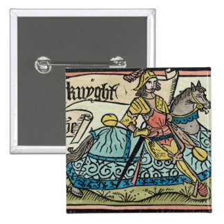 Illustration from 'The Canterbury Tales' 2 Inch Square Button