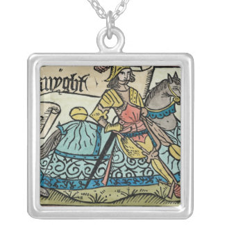 Illustration from 'The Canterbury Tales' Silver Plated Necklace
