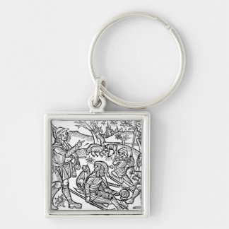 Illustration from the 'Kalendar of Shepherds' Silver-Colored Square Keychain