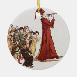 Illustration from The Pied Piper of Hamelin Book Double-Sided Ceramic Round Christmas Ornament