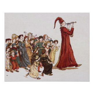 Illustration from The Pied Piper of Hamelin Book Poster