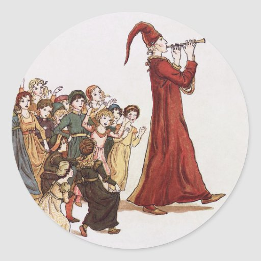 Illustration from The Pied Piper of Hamelin Book Sticker