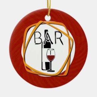 Illustration Glass of Wine in a bar Ceramic Ornament