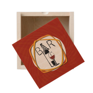 Illustration Glass of Wine in a bar Wooden Keepsake Box