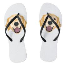 Illustration Golden Retriever Flip Flops