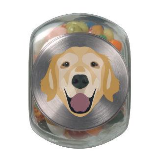 Illustration Golden Retriever Glass Candy Jars