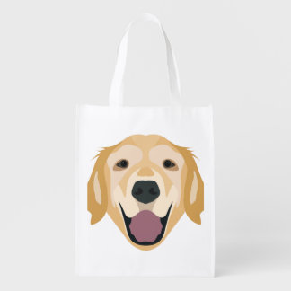 Illustration Golden Retriever Market Totes