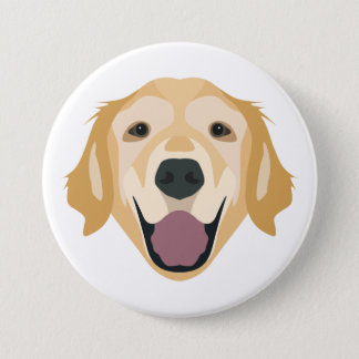 Illustration Golden Retriever Pinback Button