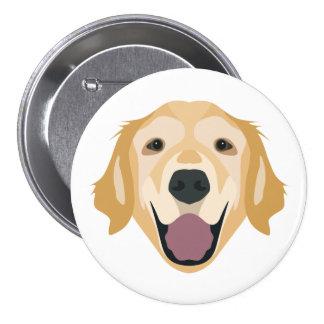 Illustration Golden Retriever Pinback Button