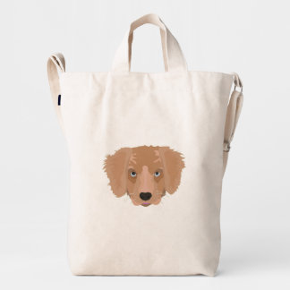 Illustration Golden Retriever Puppy Duck Bag