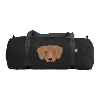 Illustration Golden Retriever Puppy Duffle Bag