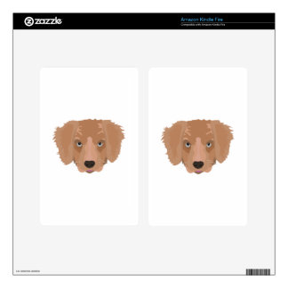 Illustration Golden Retriever Puppy Kindle Fire Decal