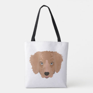 Illustration Golden Retriever Puppy Tote Bag