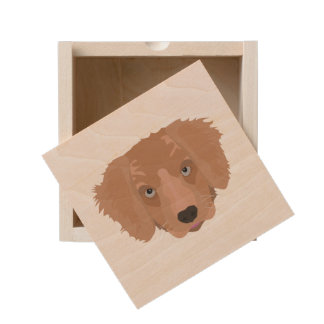 Illustration Golden Retriever Puppy Wooden Keepsake Box