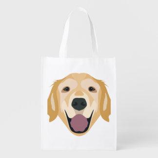 Illustration Golden Retriever Reusable Grocery Bag