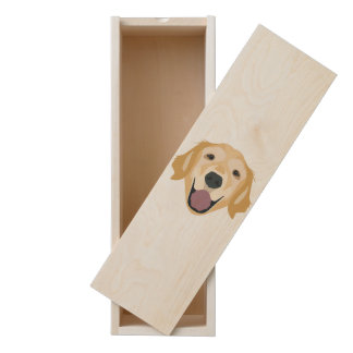 Illustration Golden Retriever Wooden Keepsake Box